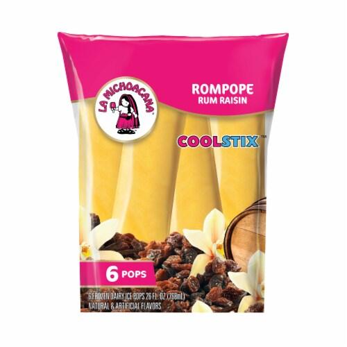 La Michoacana CoolStix Rompope Rum Raisin Dairy Ice Pops 6 Count Perspective: front
