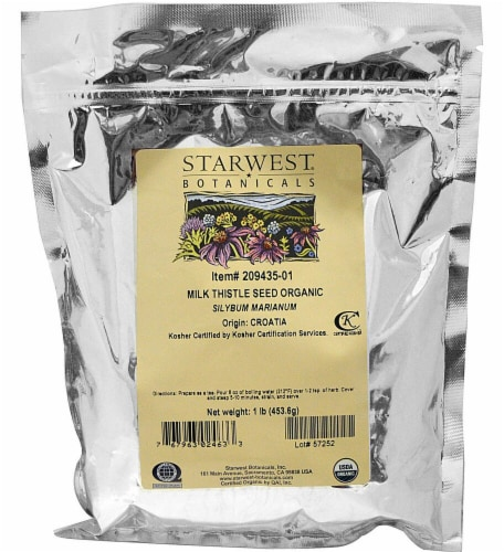 Starwest Botanicals  Organic Milk Thistle Seed Whole Perspective: front