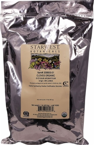 Starwest Botanicals  Organic Cloves Whole Perspective: front