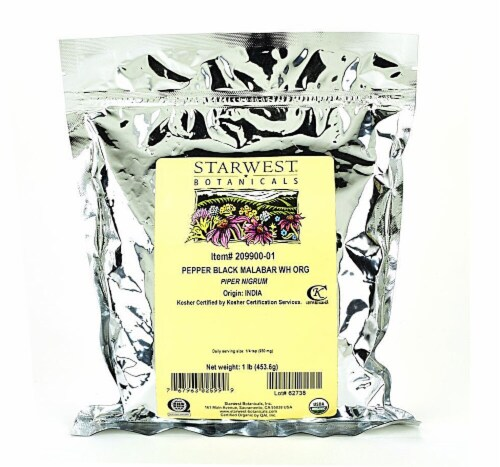 Starwest Botanicals  Organic Black Pepper Malabar Whole Perspective: front