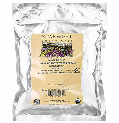 Starwest Botanicals  Organic Powder   Turmeric Root Perspective: front