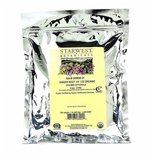 "Starwest Botanicals Organic Ginger Root 1/4"" Cut and Sifted Perspective: front"