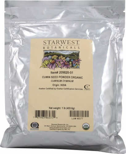 Starwest Botanicals  Organic Cumin Seed Powder Perspective: front