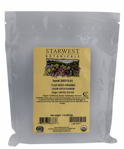 Starwest Botanicals  Organic Flax Seed Perspective: front