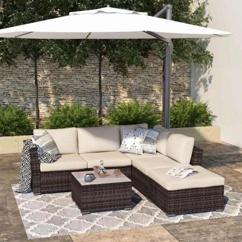 Kumo Outdoor Sectional Sofa 4-Piece Wicker Patio Furniture with Waterproof Cover Perspective: front