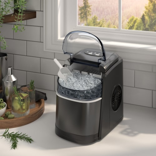 Kumo Portable Ice Maker Countertop - 9 Ice Cubes Ready in 6 Min Electric Ice Making Machine Perspective: front