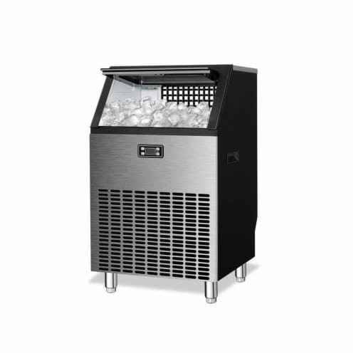 Kumo Commercial Ice Maker Freestanding Makes 200 lbs Ice in 24 hrs Business Ice Machine Perspective: front