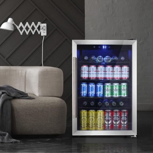 Beverage refrigerator or Wine Cooler with Glass Door 120 Can Mini Fridge freestanding Perspective: front