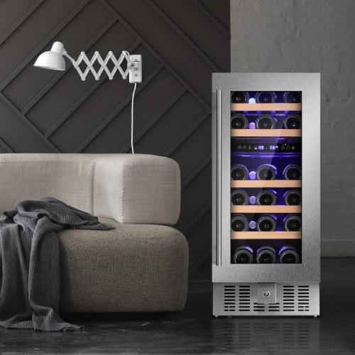 Kumo 15'' Wine Cooler 28 Bottle Built-in or Freestanding Beverage Refrigerator Perspective: front
