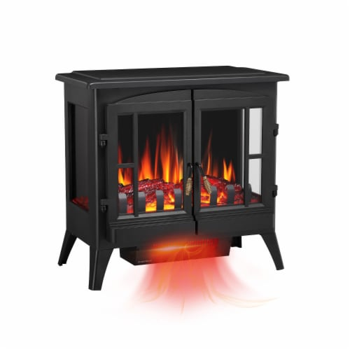 "Electric Fireplace Heater Freestanding Infrared Stove Heater 3D Flame Portable 24"" Perspective: front"