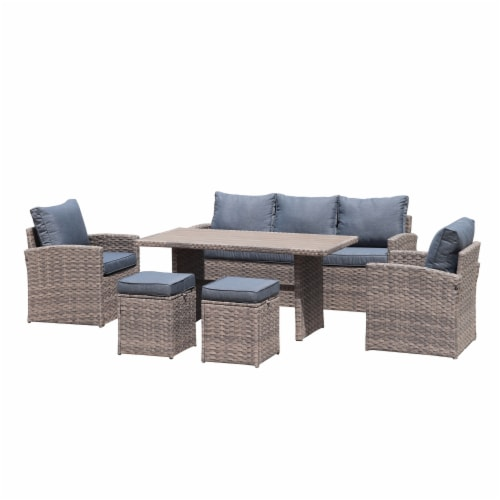 Kumo Outdoor Dining Table Set Patio Conversation Furniture Light Brown Wicker Grey Cushion Perspective: front