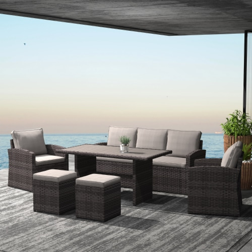 Kumo Outdoor Dining Table Set Patio Conversation Furniture Dark Gold Wicker Sandy Cushions Perspective: front