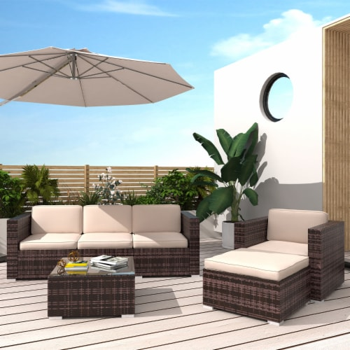 Kumo Outdoor Sectional 4-Piece Patio Furniture All Weather Wicker Furniture Sofa Couch Set Perspective: front