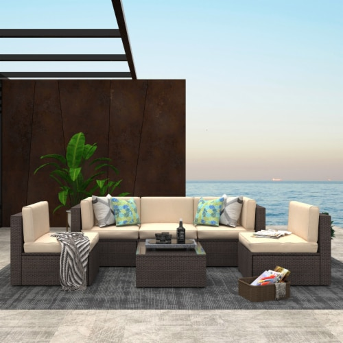 Kumo 6 Piece Patio Furniture Sectional Wicker Outdoor Sofa with Glass Coffee Table Perspective: front