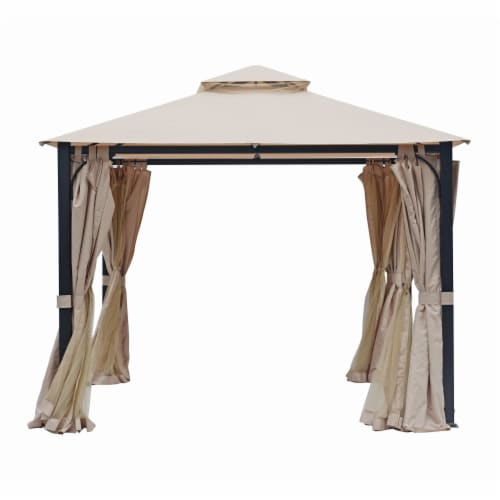 Kumo Garden Gazebo Polyester Fabric 10' x 10' Patio Gazebo Canopy with Mosquito Netting Perspective: front