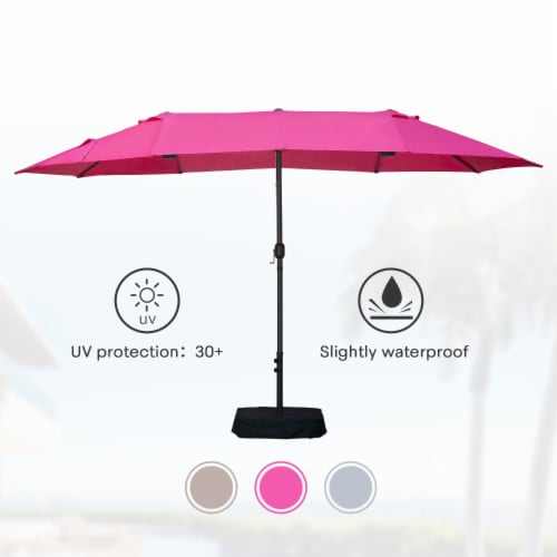 Kumo 15ft Rectangular Patio Double Sided Outdoor Large Umbrella With Sand Base(Rose Red) Perspective: front