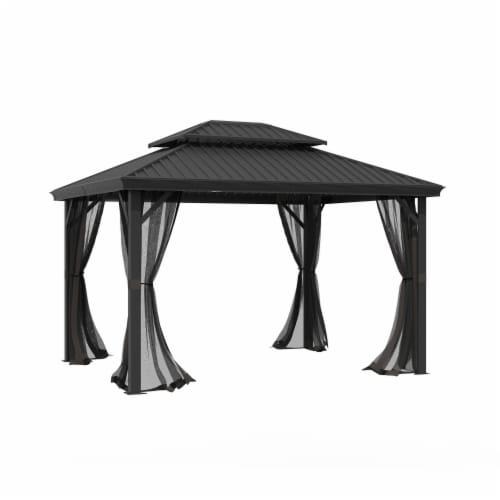 Kumo 10ft x 12ft Hardtop Gazebo Outdoor Metal Canopy Gazebo with Netting Perspective: front