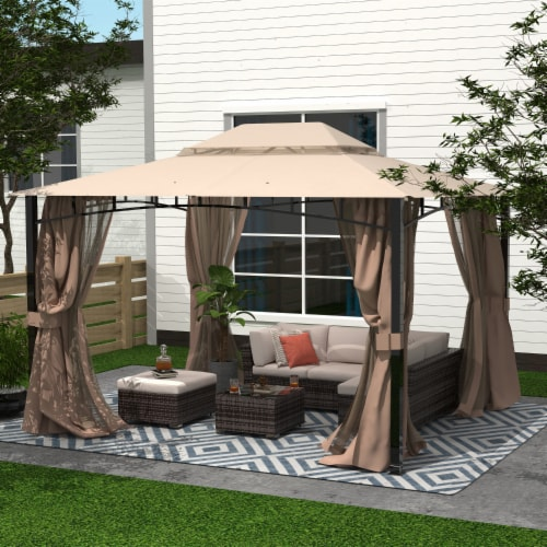 Kumo Patio Gazebo with Mosquito Netting Outdoor Gazbeo Canopy 10x12, Sand Perspective: front