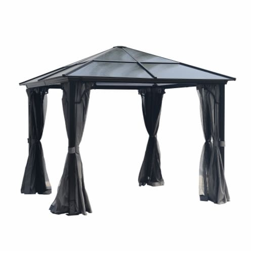 Kumo 10x10 Hardtop Gazebo Aluminum Frame and Polycarbonate Hardtop with Netting and Curtains Perspective: front