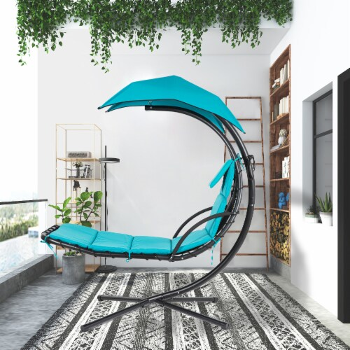 Kumo Hanging Chaise Lounge Chair Canopy Floating Chaise Lounger Swing Hammock Chair Perspective: front