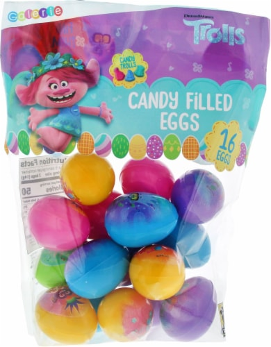 DreamWorks Trolls Candy Filled Eggs 16 Count Perspective: front
