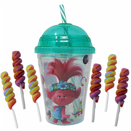 Trolls World Tour Tumbler with Mini Candy Lollipops Perspective: front