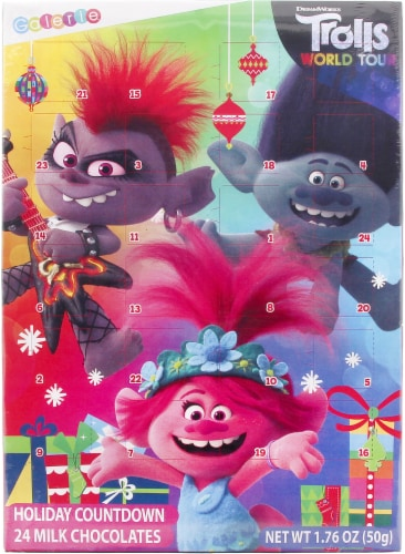 Universal Trolls Vertical Advent Calendar with Chocolate Perspective: front