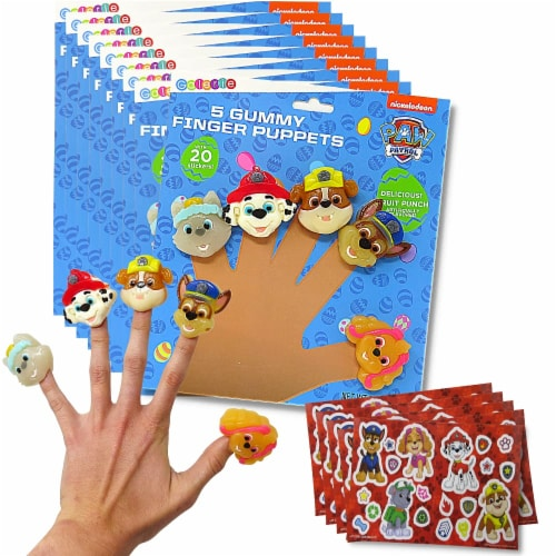 Paw Patrol Gummy Finger Puppet Candy and Collectible Stickers Perspective: front