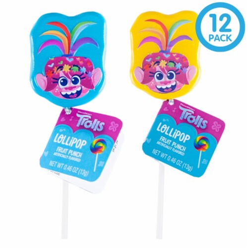 Trolls World Tour Lollipop Party Favors with Collectible Keepsake Tin Perspective: front