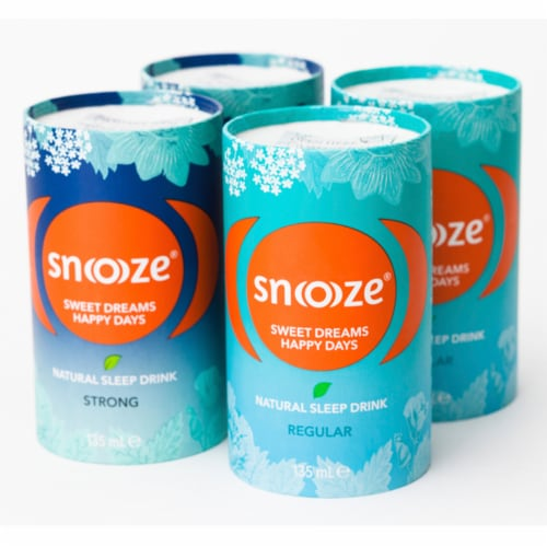 Snoooze Sleep Aid Drink, Night Time Liquid Supplement (Variety) Natural, Vegan, Gluten-Free Perspective: front