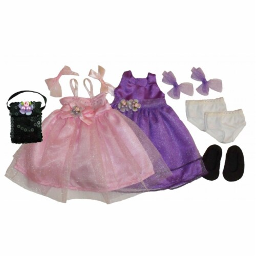 Get Ready 1322 Kids Doll Clothes, 2 Princess Dresses and Accessories Perspective: front