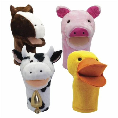Get Ready Kids 2004186 Moveable Mouth Farm Animal Puppets - Set of 4 Perspective: front