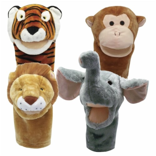 Get Ready Kids 2004187 Moveable Mouth Zoo Animal Puppets - Set of 4 Perspective: front