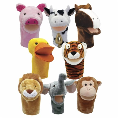 Get Ready Kids 2004188 Moveable Mouth Zoo & Farm Animal Puppets - Set of 8 Perspective: front