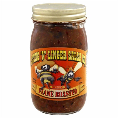 Sting 'N' Linger Flame Roasted Salsa Perspective: front