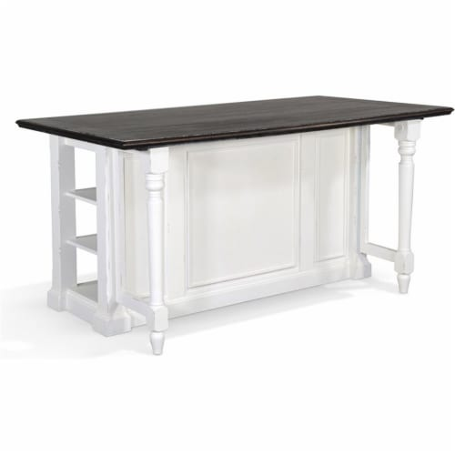 Sunny Designs Carriage House 71.5  Wood Kitchen Island in White/Dark Brown Perspective: front