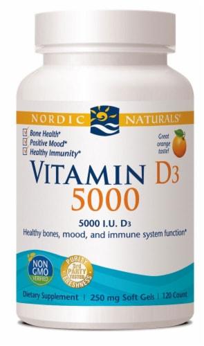 Nordic Naturals Vitamin D3 5000iu Orange Softgels Perspective: front