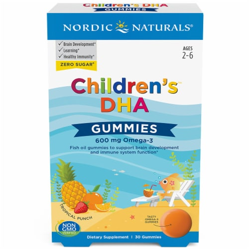 Nordic Naturals Children's DHA Tropical Punch Gummies Perspective: front