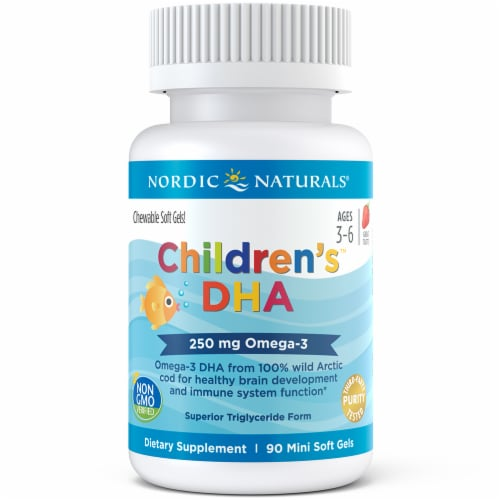 Nordic Naturals Children's DHA Strawberry Chewables 250mg Perspective: front