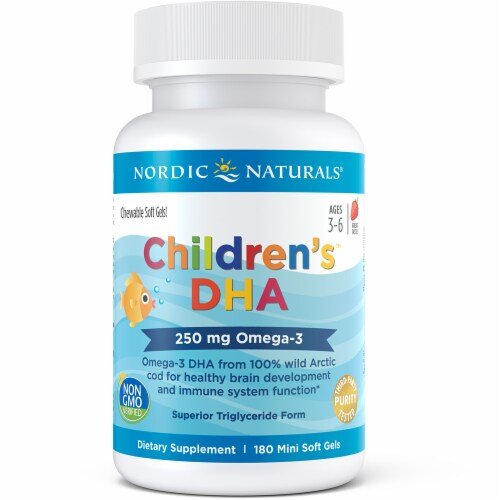 Nordic Naturals Children's DHA Strawberry Softgels 250mg Perspective: front
