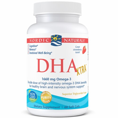 Nordic Naturals DHA Xtra Soft Gels 60 Count Perspective: front