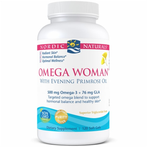 Nordic Naturals Omega Woman Soft Gels 500mg 120 Count Perspective: front