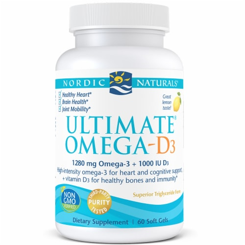 Nordic Naturals Ultimate Omega-D3 Lemon Soft Gels Perspective: front