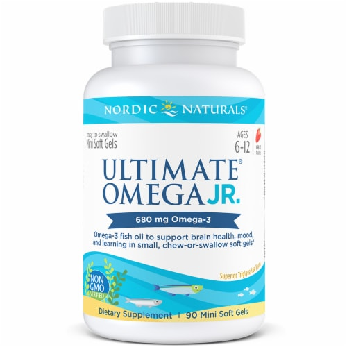 Nordic Naturals Ultimate Omega Junior Dietary Supplement Mini Soft Gels 680mg Perspective: front