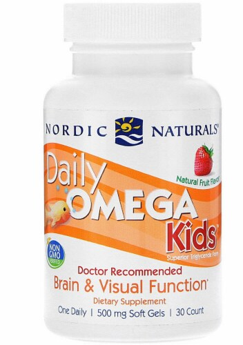 Nordic Naturals Daily Omega Kids Strawberry Flavored Softgels Perspective: front