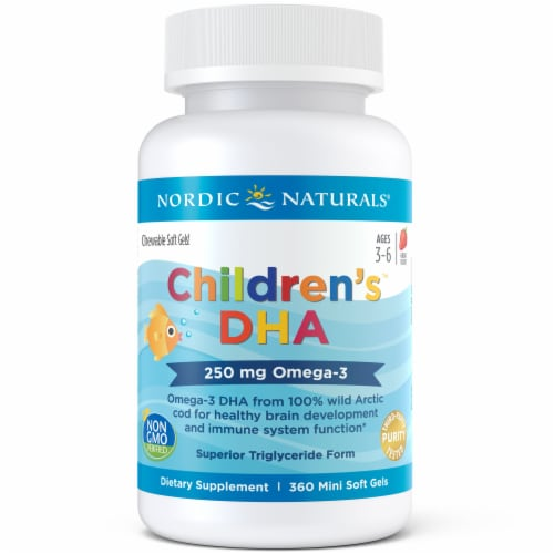 Nordic Naturals Children's DHA Omega-3 Chewable Mini Soft Gels 250mg Perspective: front