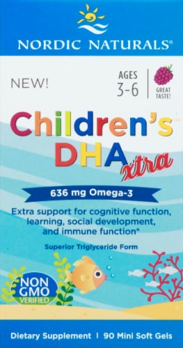 Nordic Naturals Children's DHA Extra Omega-3 Mini Soft Gels 636 mg Perspective: front