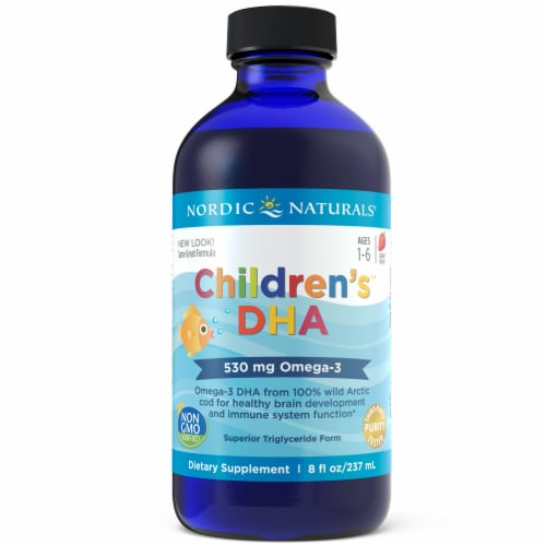 Nordic Naturals Strawberry Flavored Children's DHA Supplement Perspective: front