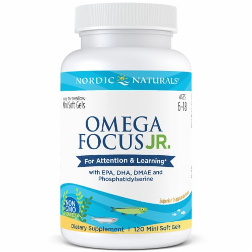Nordic Naturals Omega Focus Jr.for Attention & Learning Mini Soft Gels Perspective: front
