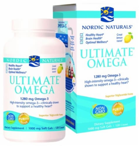 Nordic Naturals Ultimate Omega Soft Gels 120 Count Perspective: front